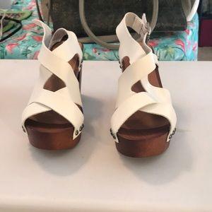 White wood high heels